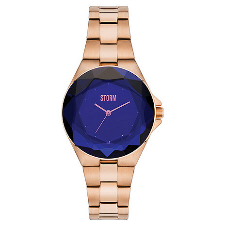 STORM London Ladies rose gold/blue 'CRYSTANA' watch ...