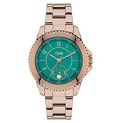 STORM - Ladies rose gold/teal 'ZIRONA' watch