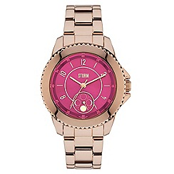 STORM - Ladies rose gold/magenta 'ZIRONA' watch