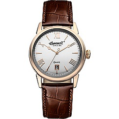 Ingersoll - Men's silver dial quartz leather strap watch