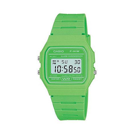 Casio - Unisex green octagonal digital watch