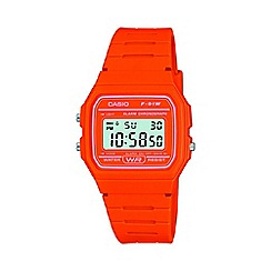 Casio - Unisex orange octagonal digital watch f-91wc-4a2ef
