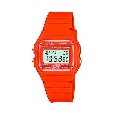 Casio - Unisex orange octagonal digital watch