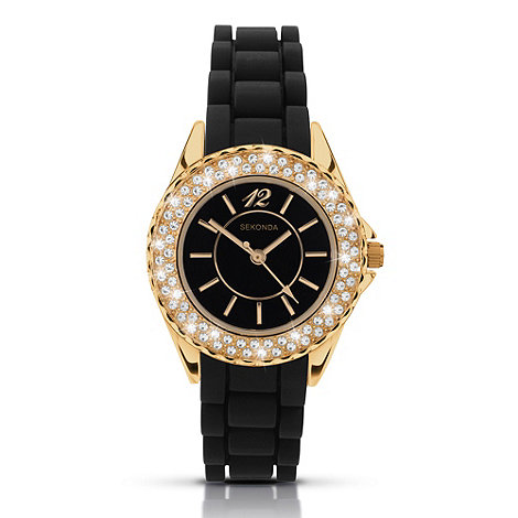 Sekonda - Ladies +partytime+ black diamante embellished watch