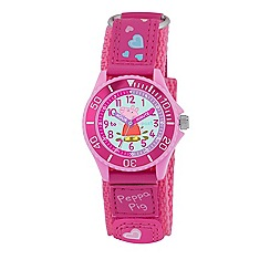 Peppa Pig - Girl's pink dial quartz analogue watch with pink PU strap