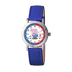 George Pig - Boy's white dial analogue display watch and blue PU strap