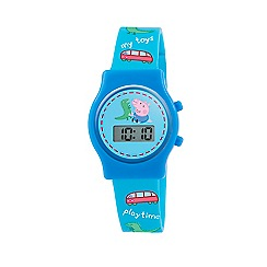 George Pig - Boy's blue dial digital display watch and blue PU strap