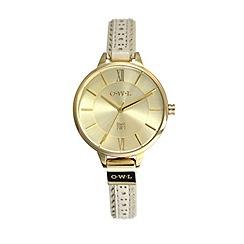 O.W.L - Ladies gold & mink belfast leather strap watch