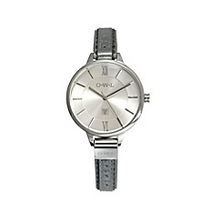 O.W.L - Ladies silver & metallic belfast leather strap watch