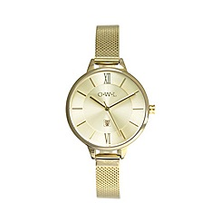 O.W.L - Ladies gold knighstbridge mesh strap watch