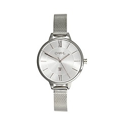 O.W.L - Ladies silver knightsbridge mesh strap watch