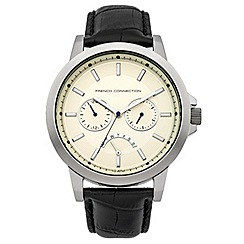 French connection - Gents black leather strap watch