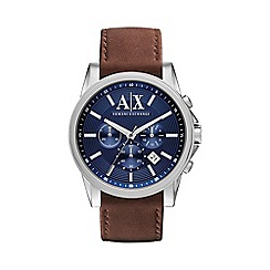 Armani Exchange - Mens blue chronograph leather strap watch