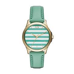 Armani Exchange - Ladies gold 3 hand leather strap watch