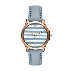 Armani Exchange - Ladies rose gold 3 hand leather strap watch