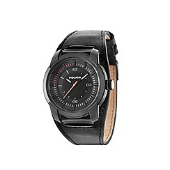 Police - Men's black leather cuff strap watch