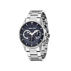 Police - Men's blue dial silver bracelet watch