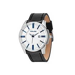 Police - Men's silver dial black strap watch