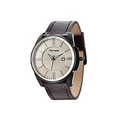 Police - Men's beige dial brown strap watch