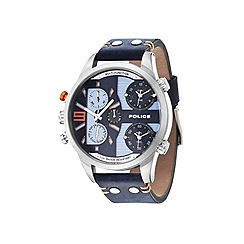 Police - Men's blue dial blue leather strap watch