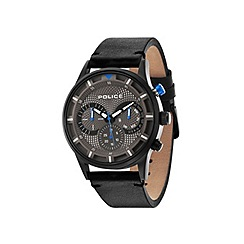 Police - Men's grey dial black leather strap watch