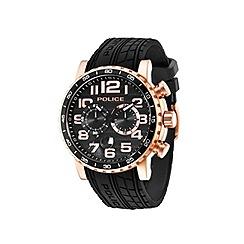 Police - Men's black dial black silicon strap watch