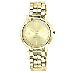 Nine West - Women's Quartz Watch with Gold Dial Analogue Display and Gold Stainless Steel Bracelet