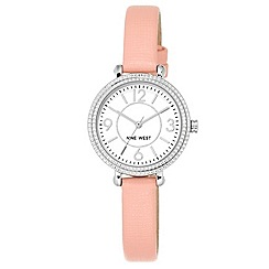 Nine West - Ladies' Skinny Pink Leather Strap Watch
