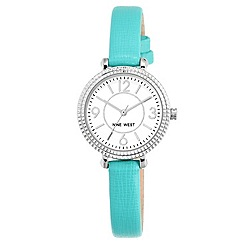 Nine West - Ladies' Skinny Turquoise Strap Watch