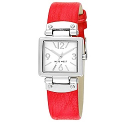 Nine West - Women's Quartz Watch with White Dial Analogue Display and Pink Leather Strap