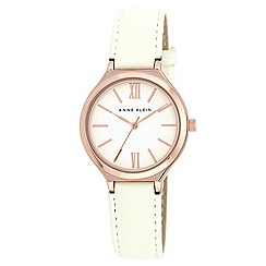 Anne Klein - White Leather strap and gold rose round case watch