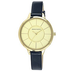 Anne Klein - Ladies'  Slim Gold-Tone Case Navy Leather Strap Watch