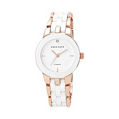 Anne Klein - Ladies' Diamond Dial Rose Gold-Tone and White Ceramic Bracelet Watch