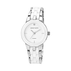 Anne Klein - Ladies'  Diamond Dial Silver-Tone and White Ceramic Bracelet Watch