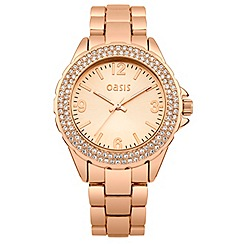 Oasis - Ladies rose gold tone bracelet watch