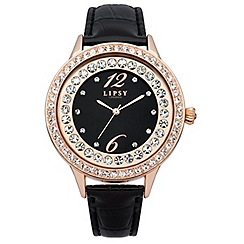 Lipsy - Ladies black strap watch