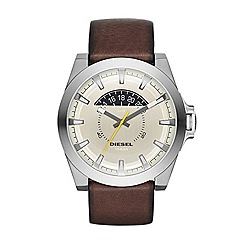 Diesel - Mens Gunmetal case and Brown leather strap watch.