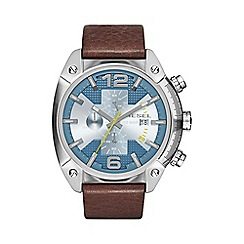 Diesel - Mens Stainless Steel chronogrpah and blue dial with Brown leather strap watch