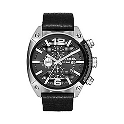 Diesel - Men's 'Overflow' black dial & black leather strap watch