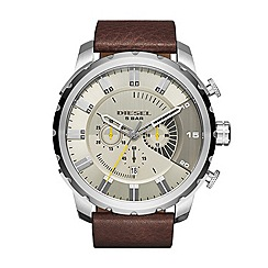 Diesel - Mens chronogrraph Stainless Steel case and Brown leather strap watch with Gunmetal grey dial