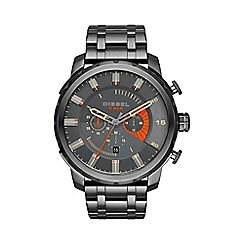 Diesel - Men's 'Stronghold' gunmetal dial bracelet watch dz4348