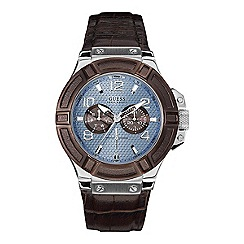 Guess - Men's brown leather strap watch with blue dial