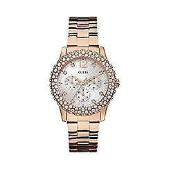 Guess - Women's rose gold bracelet watch wiith crystal details