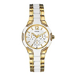 Guess - Women's gold bracelet watch with white silicone and crystal details
