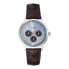 Guess - Men's brown crocodile effect leather strap watch with blue dial