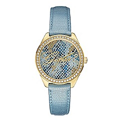 Guess - Women's blue leather strap with blue python dial