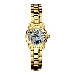 Guess - Women's gold bracelet watch with blue python effect details
