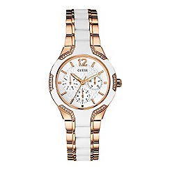 Guess - Ladies rose gold bracelet watch with white silicone with crystal details w0556l3