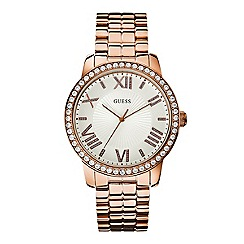 Guess - Women's large face watch on a rose gold bracelet