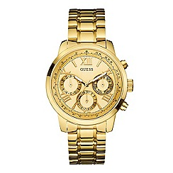 Guess - Women's large face gold watch with blue python effect details